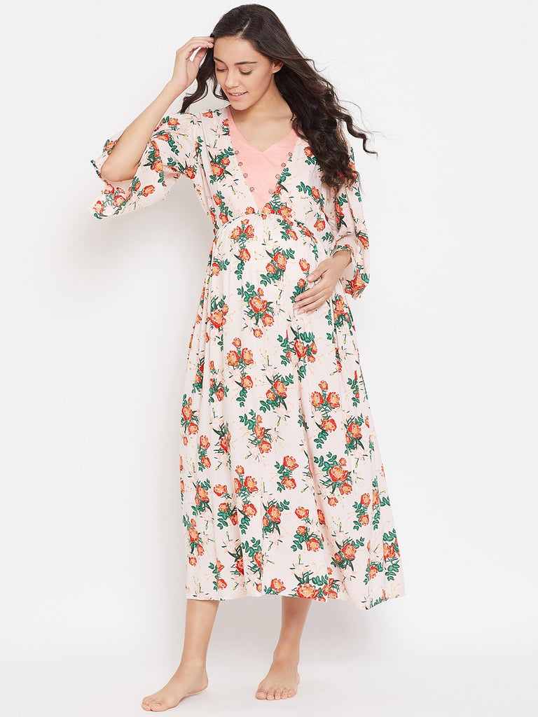 ROSE PRINTED MATERNITY NIGHTDRESS WITH NURSING SLIT
