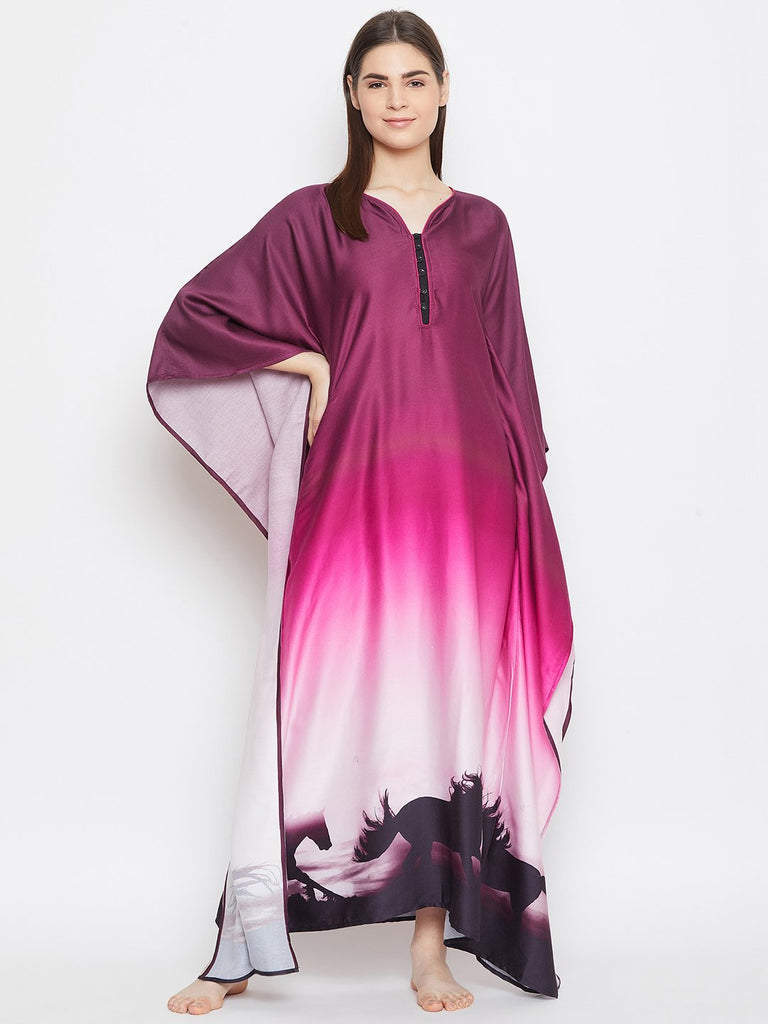 PURPLE OMBREY LOUNGEWEAR KAFTAN