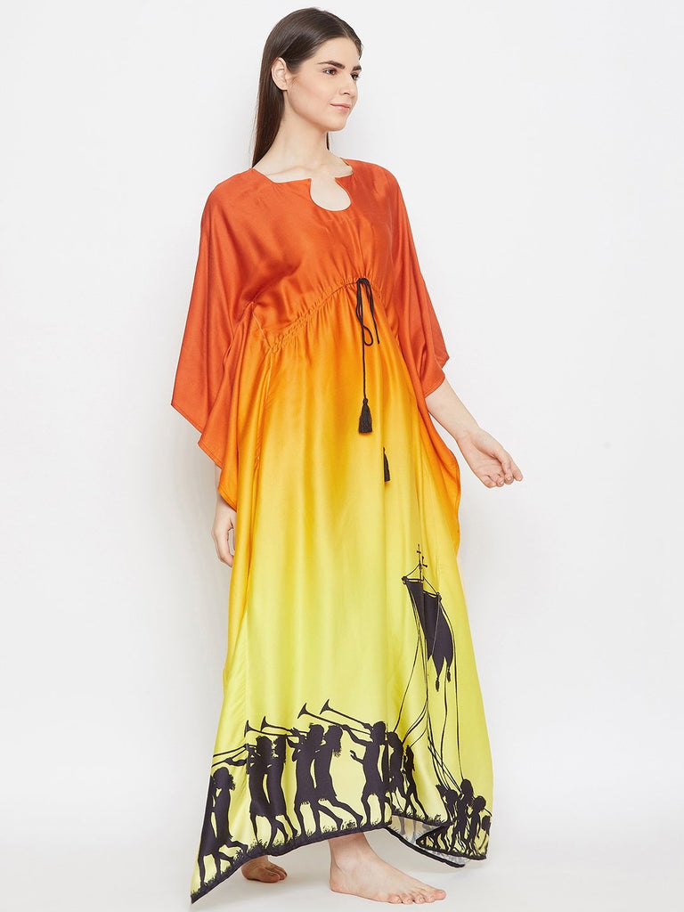 ORANGE OMBREY LOUNGEWEAR KAFTAN