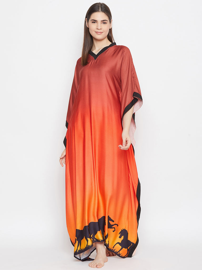 BROWN OMBREY LOUNGEWEAR KAFTAN