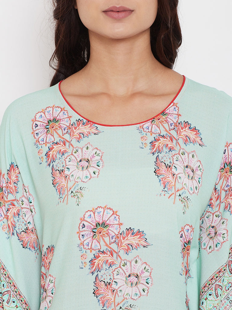 Sea Green Flora Loungewear Kaftan