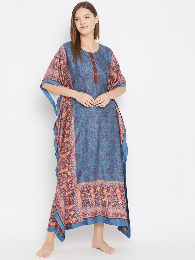 BLUE PERSIAN MOTIF PRINT  KAFTAN WITH BUTTON PLACKET