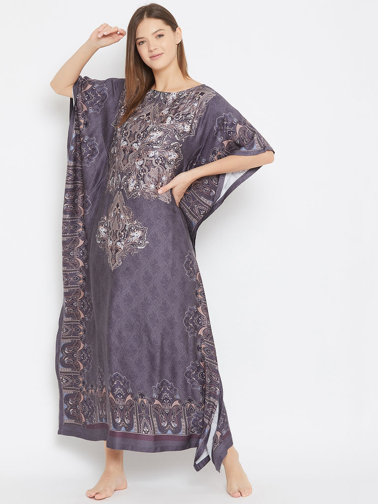 GREY PERSIAN MOTIF PRINTED KAFTAN WITH BOAT NECK