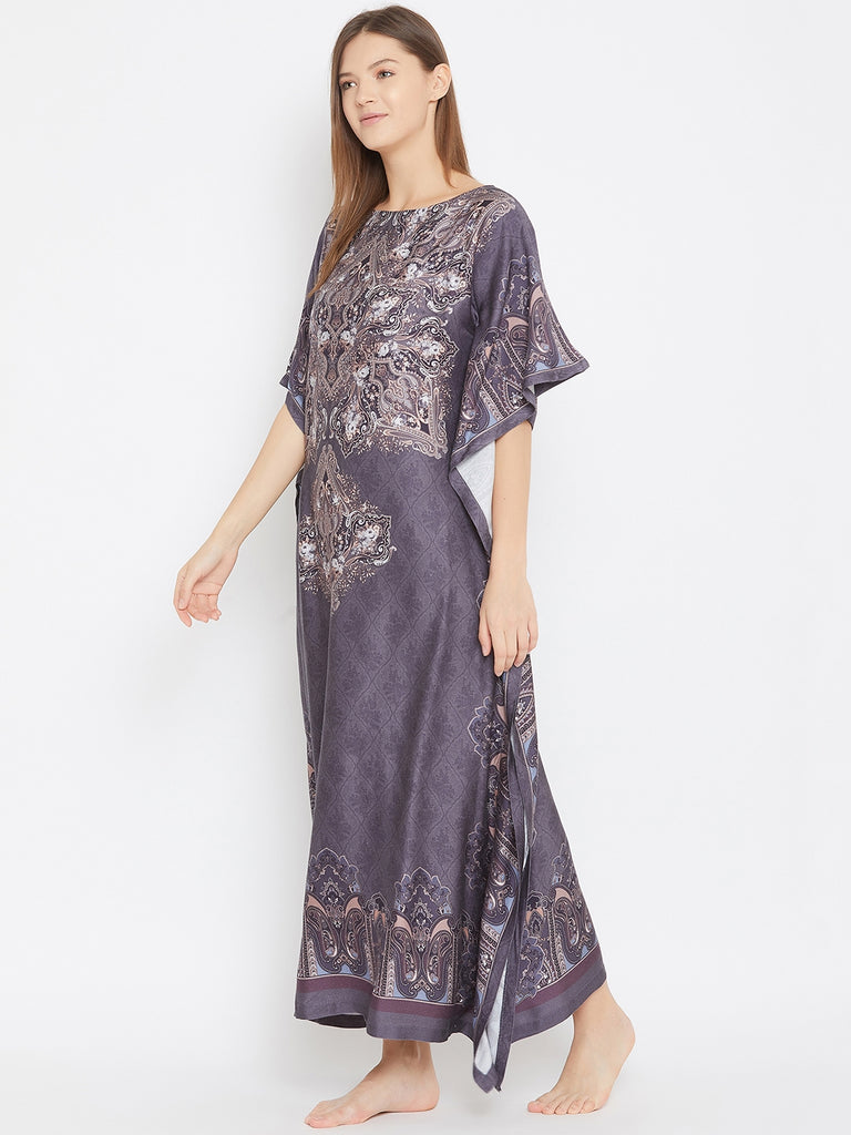 Regal Motif Printed Grey Maxi Kaftan