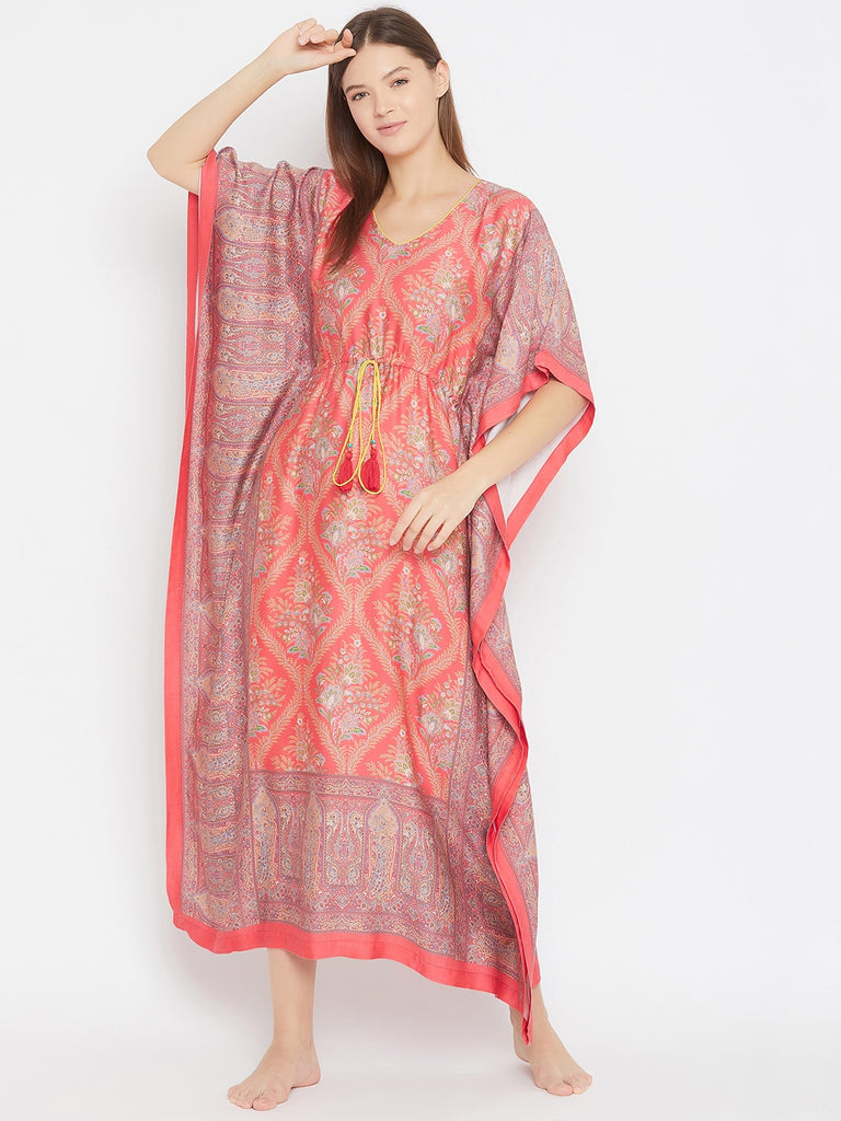 RED PERSIAN MOTIF PRINTED NGHTWEAR KAFTAN WITH WAIST TIE- UP DETAIL