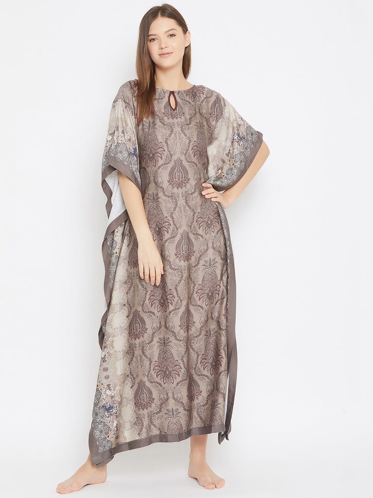 BROWN PRINTED NIGHTWEAR KAFTAN WITH KEYHOLE DETAIL