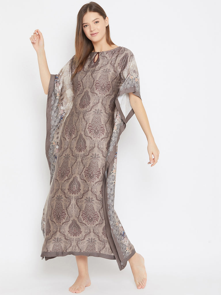 Persian Pineapples Brown Maxi Kaftan