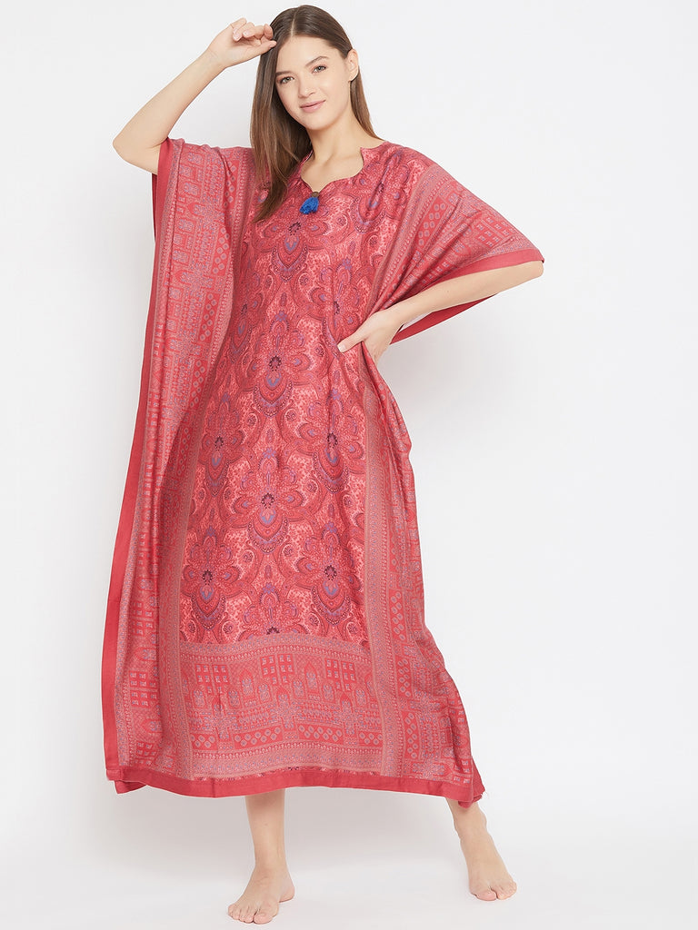 MAROON PERSIAN MOTIF PRINTED NIGHTWEAR KAFTAN WITH TASSEL DETAIL