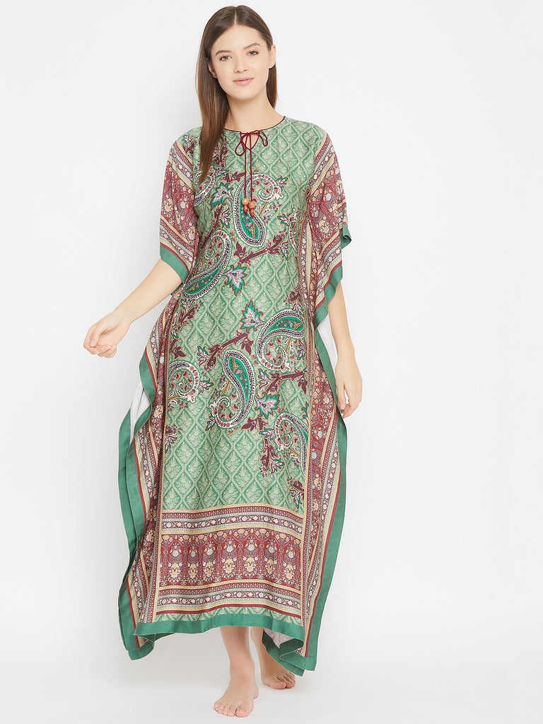 GREEN PRINTED NIGHTWEAR KAFTAN WITH NECK TIE UP DETAIL