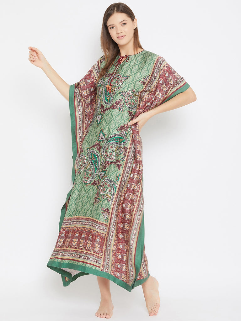 Green Paisleys Maxi Kaftan with Floral Borders