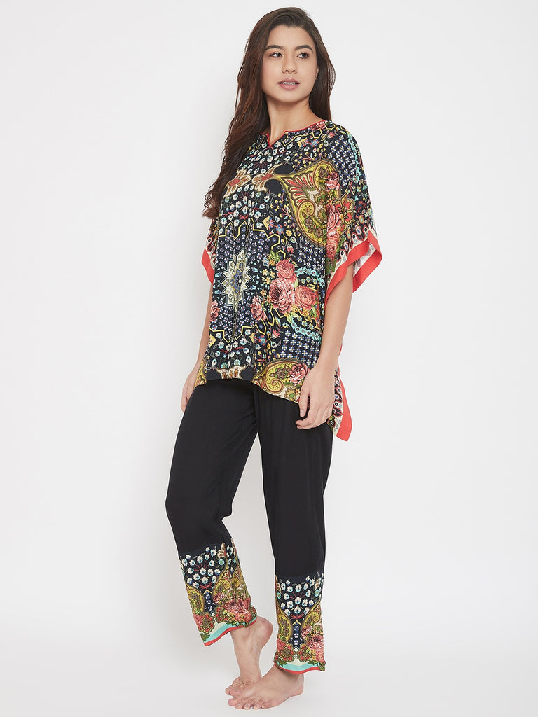 Astral Flower Printed Kaftan Pyjama Set