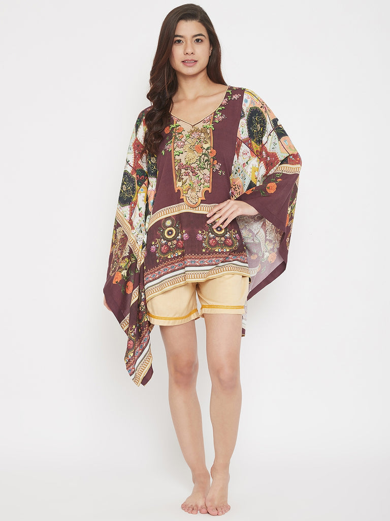 Organized Floral Print Brown Kaftan Shorts Set