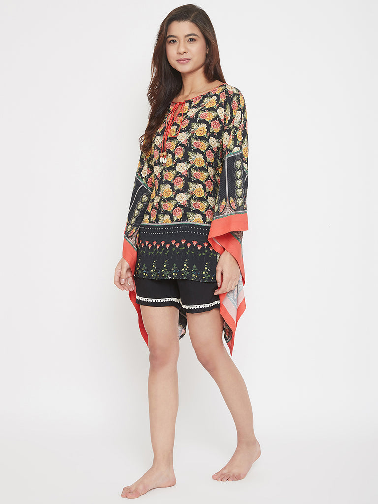 Floral Print Red and Black Kaftan Shorts Set