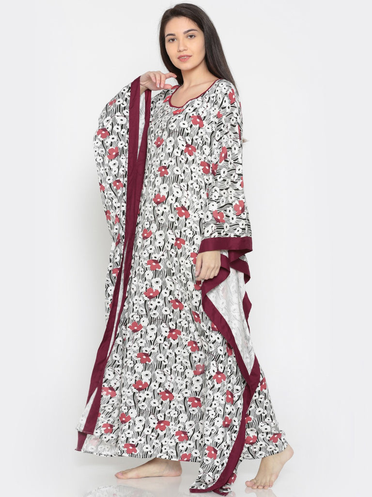 Poppy Red Kaftan with Borders