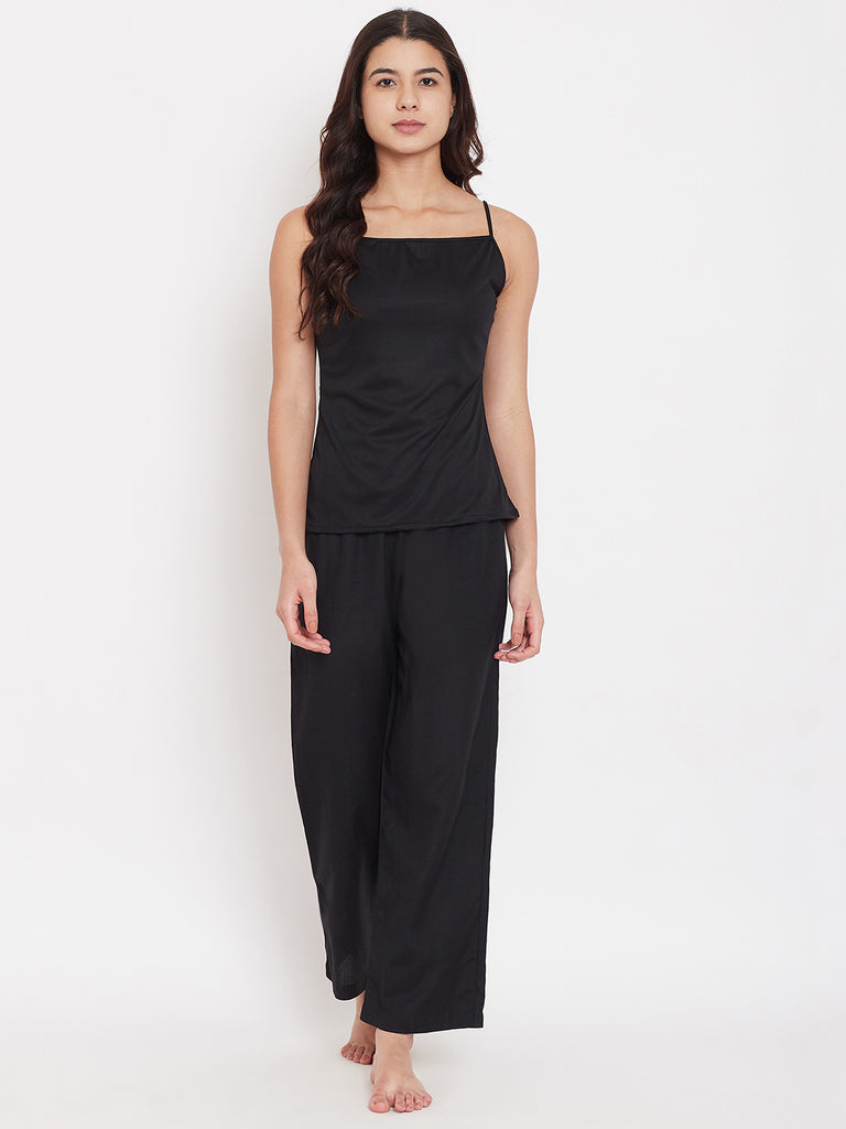 Black Merino Wool 3 Piece Pyjama Set