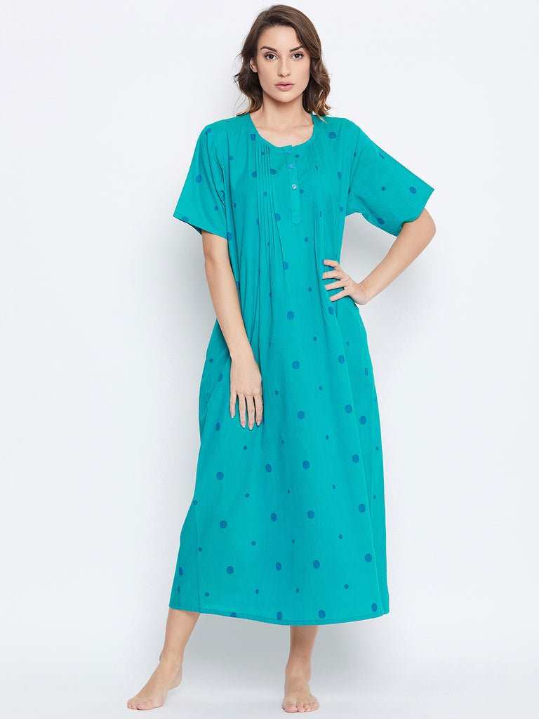 TEAL POLKA COTTON NIGHTDRESS