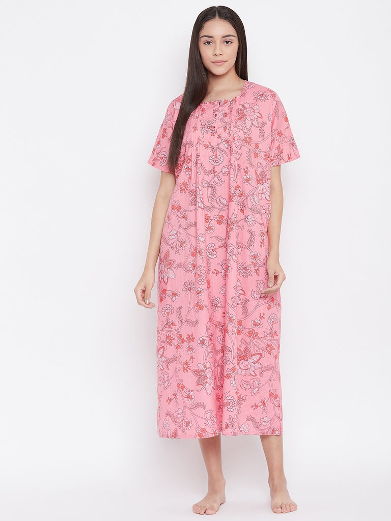 PINK PRINTED NIGHTDRESS