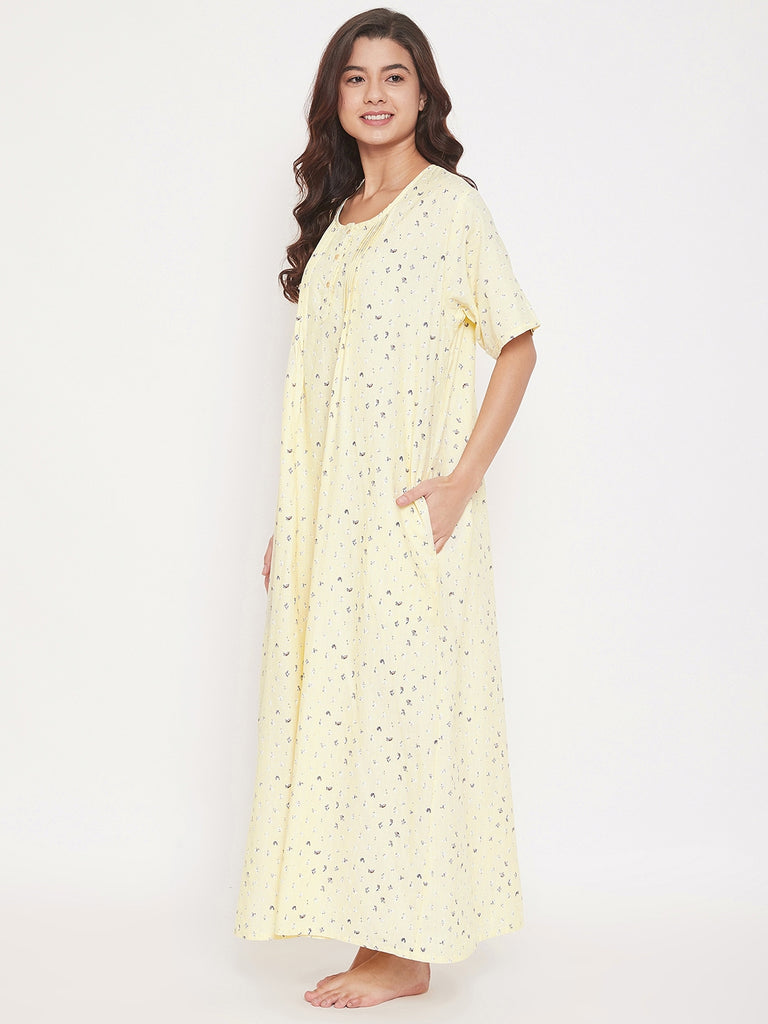 Digital Micro Print Cotton Nightdress with Pleats
