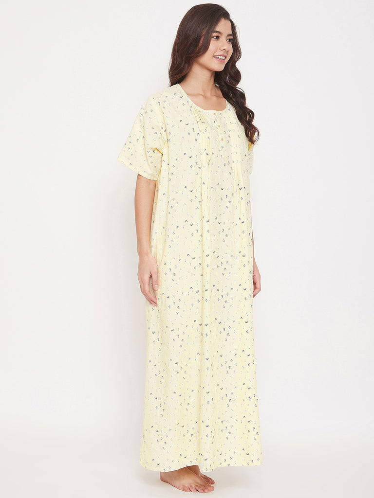 Micro Print Cotton Nightdress with Pleats