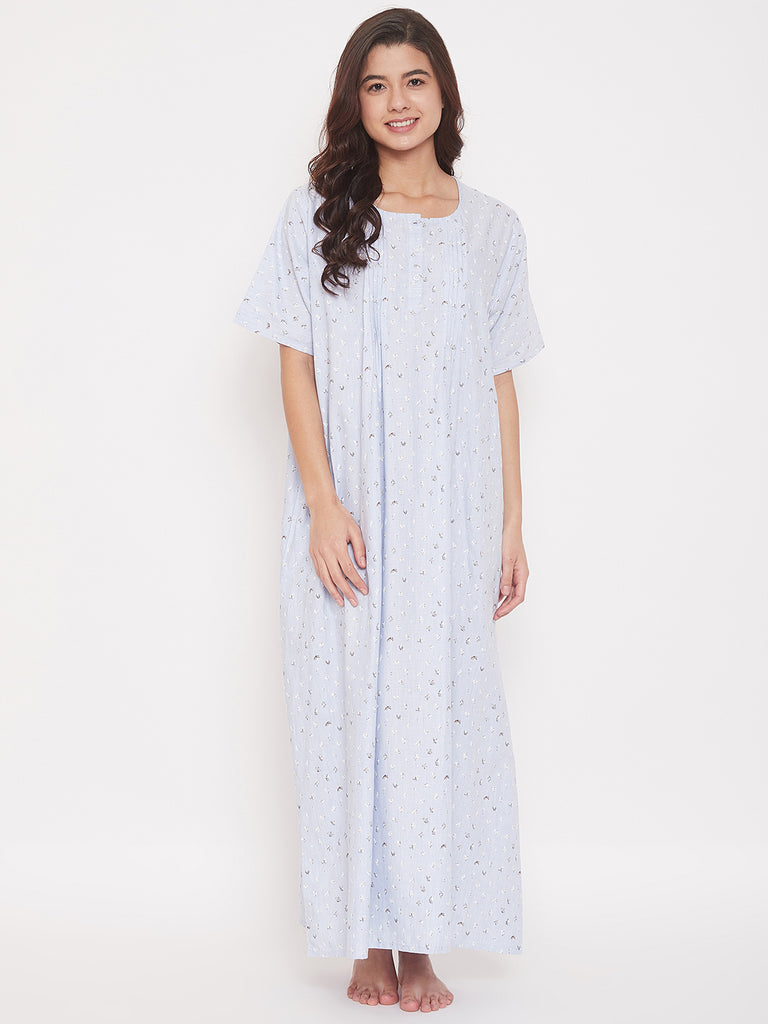 Micro Floral Print Cotton Nightdress with Pleats