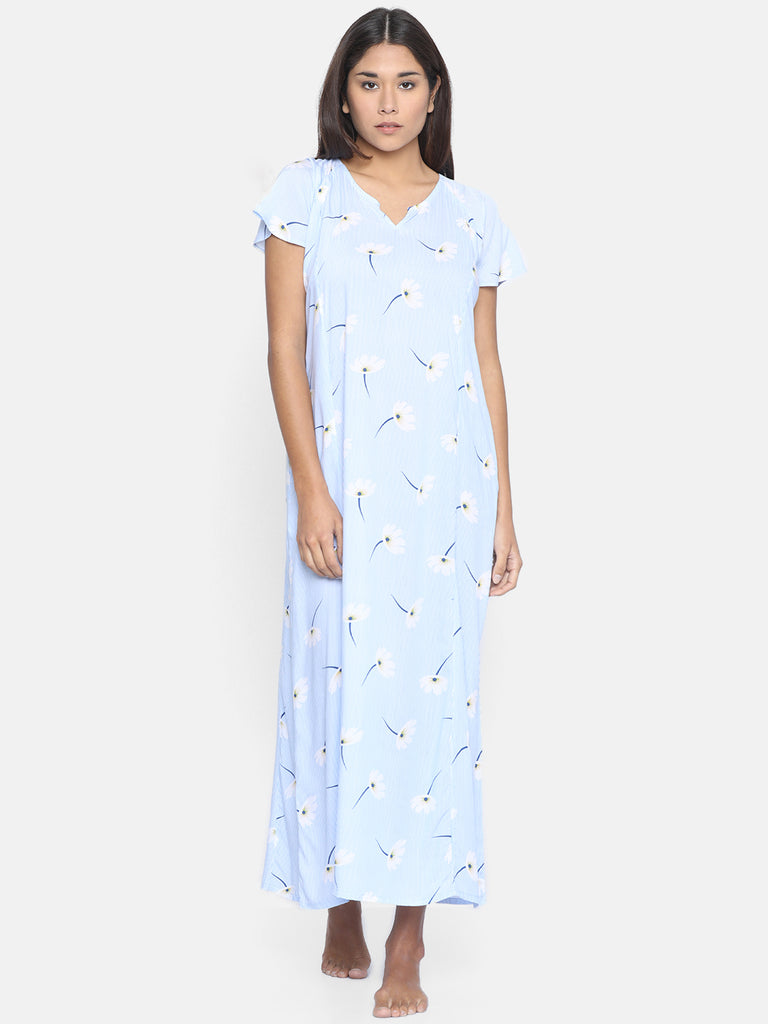BLUE FLORA NIGHTDRESS