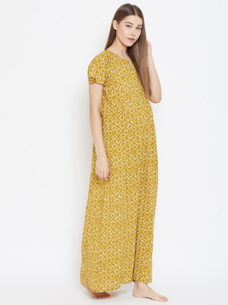 MUSTARD MAGIC COTTON NIGHTDRESS
