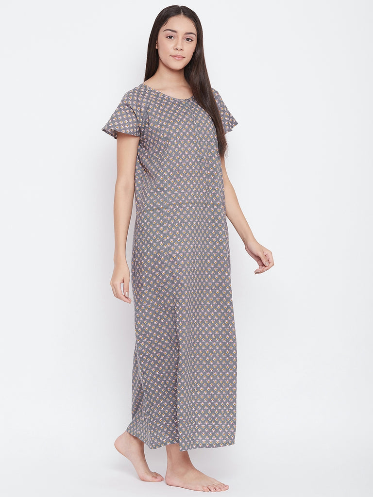 GREY PRINTED NIGHTDRESS