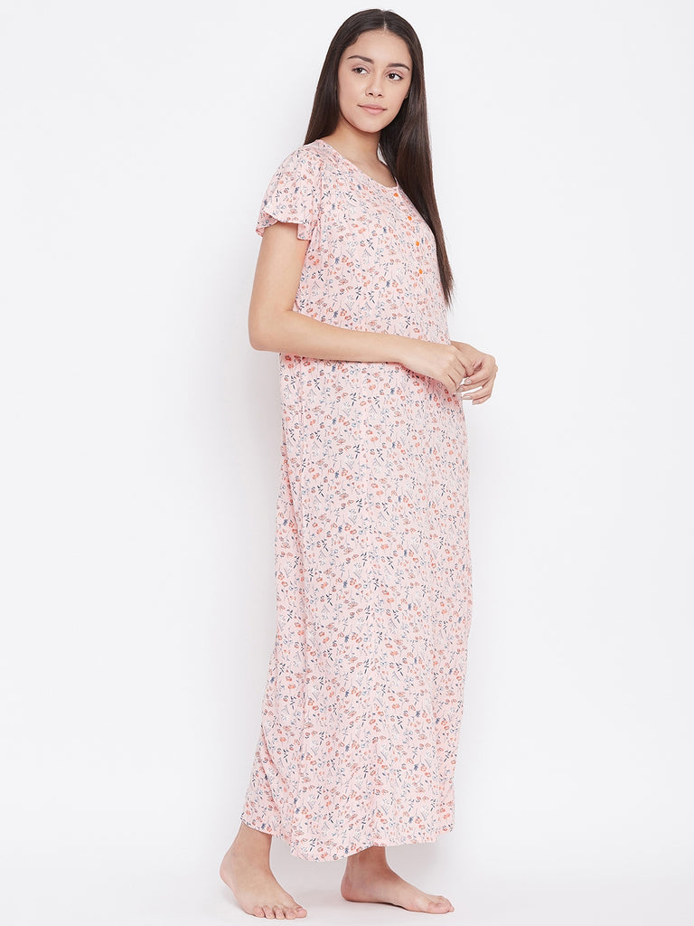 ROSE FLORAL PRINTED NIGHTDRESS