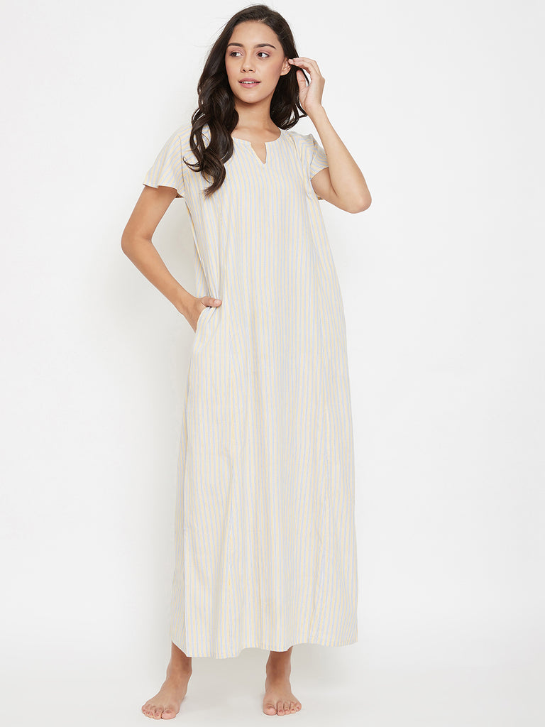 Lemon Sky Striped Nightdress