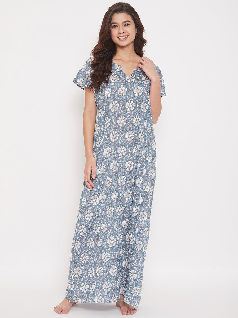 White Floral Printed Cotton Maxi Nightdress