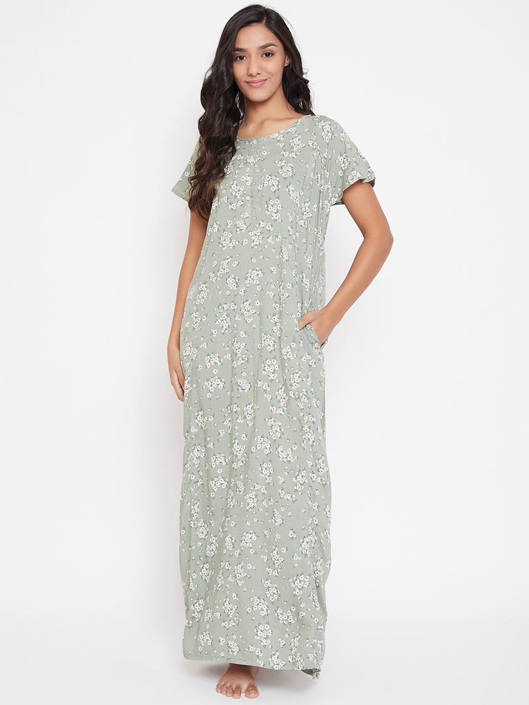 Designer Night-wear from The Kaftan Company which is Mixed and Matched for you!  Olive Floral  Printed maxi length Nighty