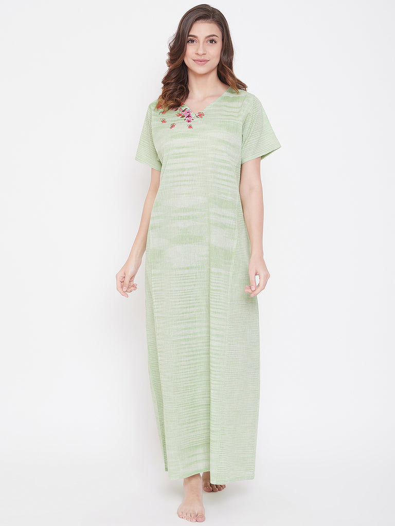 Pastel Green Cotton Nightdress with Embroidered Neckline