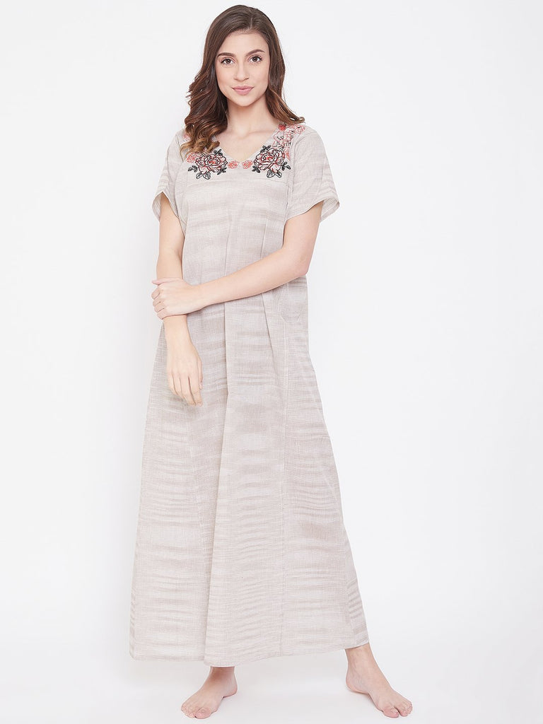 Pastel Brown Cotton Nightdress with Embroidered Neckline