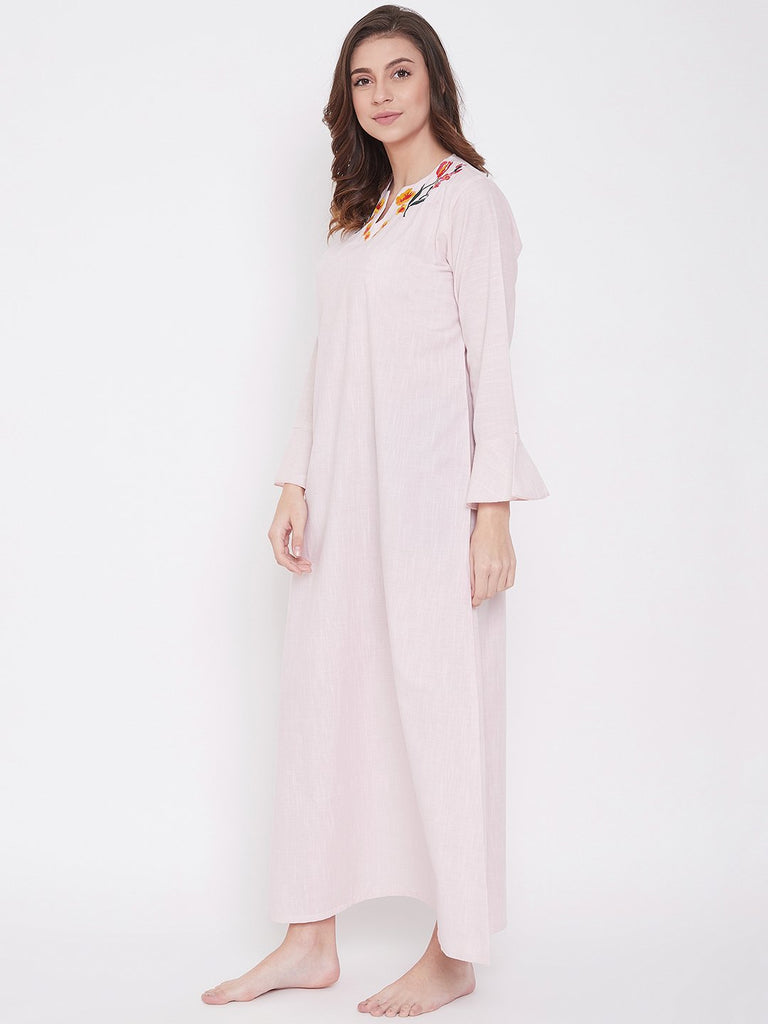 Pastel Pink Cotton Nightdress with Embroidered Neckline