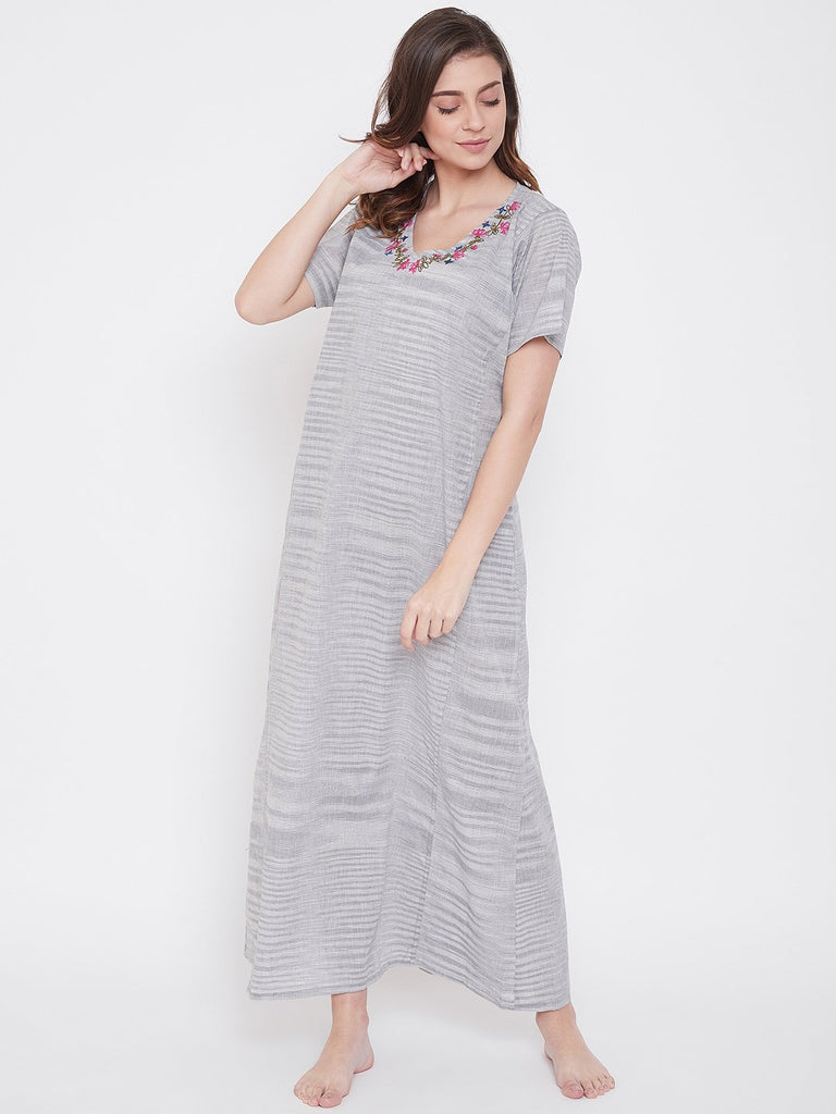 Pastel Grey Cotton Nightdress with Embroidered Neckline