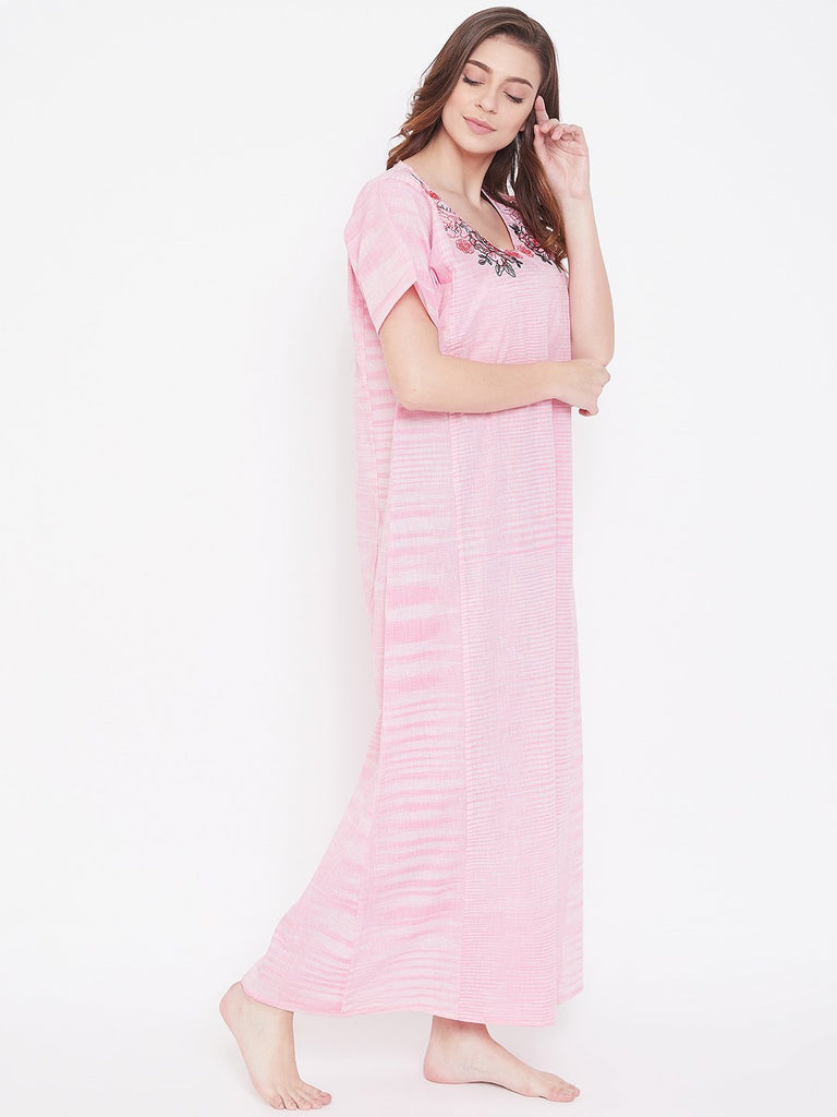 Pastel Rose Cotton Nightdress with Embroidered Neckline