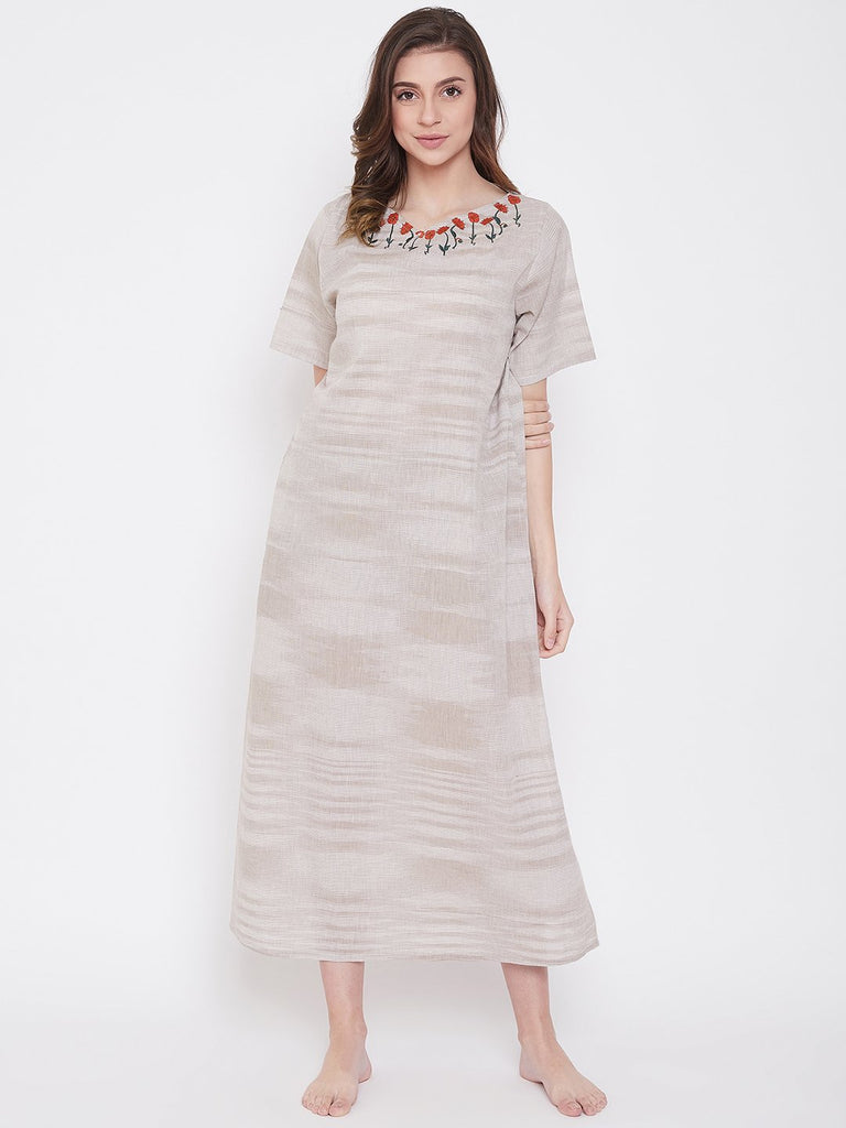 Pastel Khaki Cotton Nightdress with Embroidered Neckline