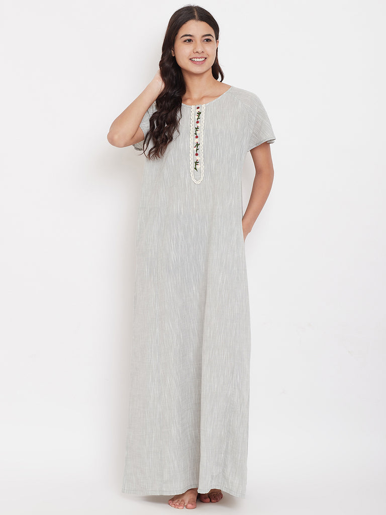 Floral Embroidered Mangalgiri Cotton Nightdress