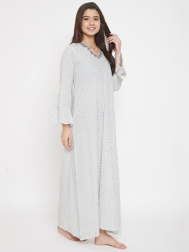 White Verical Stripes Handloom Cotton Nighty with Embroidered V-Neckline