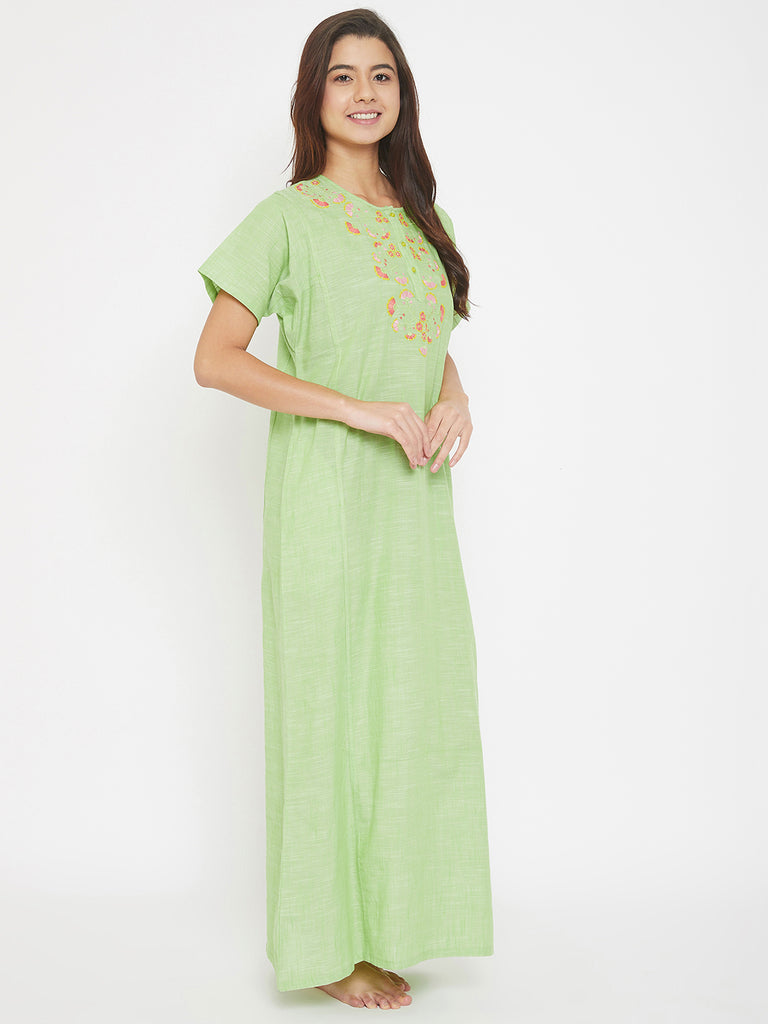 Mangalgiri Cotton Emboidered Round Neck Nighty with Placket