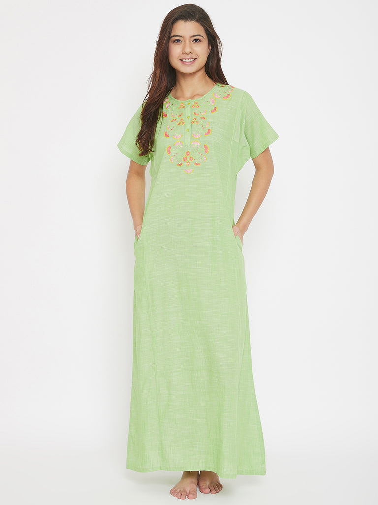 Green Mangalgiri Cotton Emboidered Round Neck Nighty with Placket
