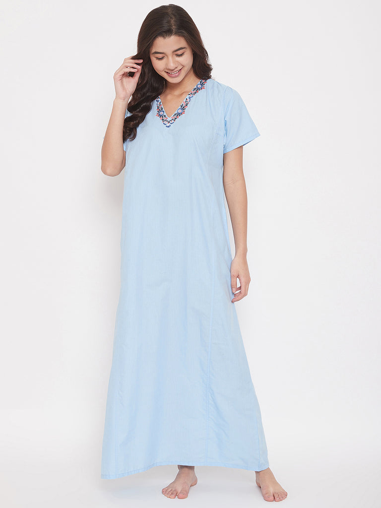 Chambray Cotton Maxi Nightdress with Floral Embroidered V-Neckline