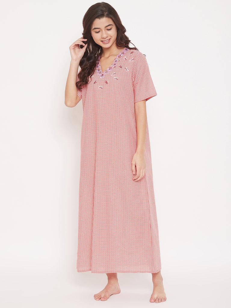 Red Checks Cotton Maxi Nightdress with Floral Embroidered V-Neckline