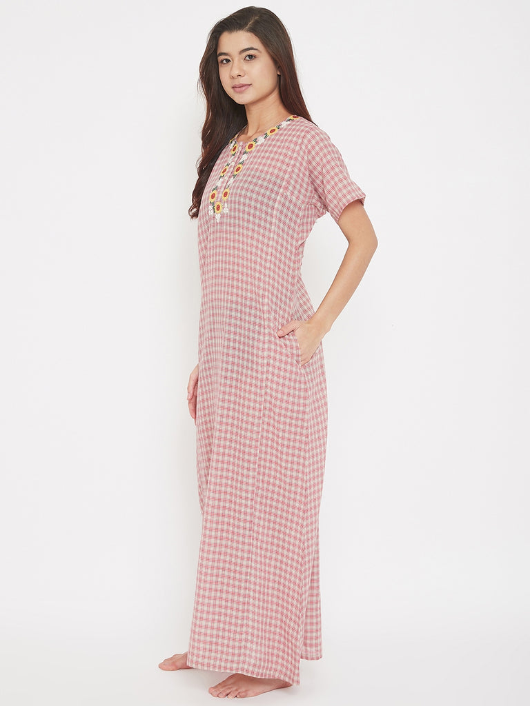Red Checks Semi Sheer Cotton Nighty with Embroidered Neck