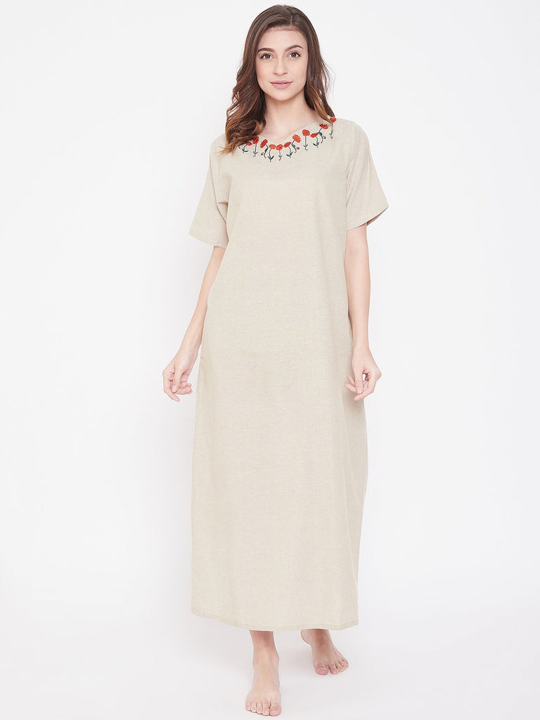 Pastel Beige Cotton Nightdress with Embroidered Neckline