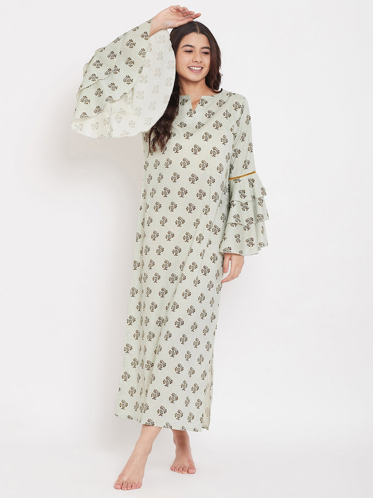 Green Buti Nightdress with Layered Sleeves