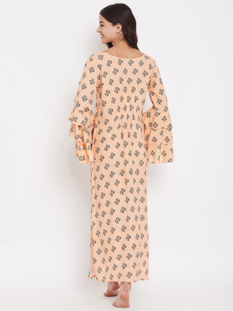Peach Buti Nightdress with Layered Sleeves