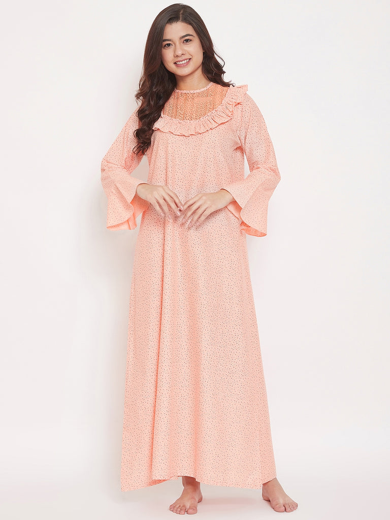 Ditsy Floral Print Full Sleeve Cotton Maxi Nightdress with Lace Neckline