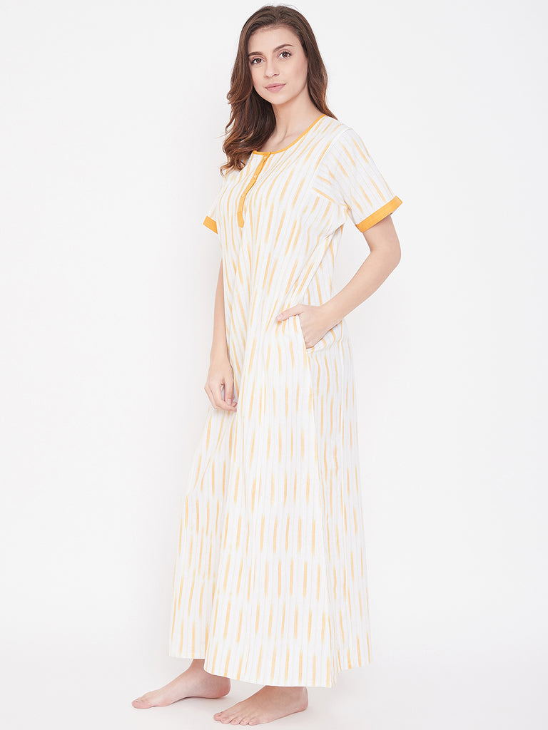 OFF WHITE IKAT NIGHTDRESS