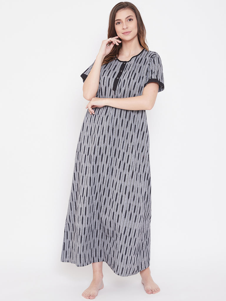 Black Ikat Handloom Cotton Nightdress